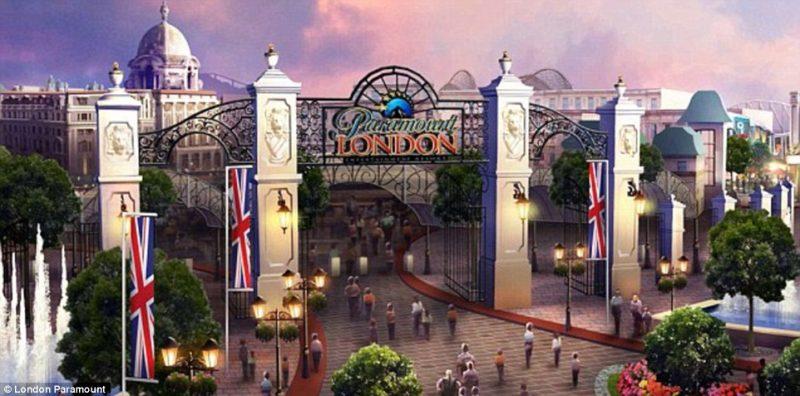 Konzept Zeichnung des ursprünglichen Eingangs des Paramount Park © The London Resort