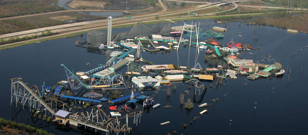 So sah der Six Flags New Orleans nach dem Hurricane aus (c) http://www.moderndayruins.com/2012/09/six-flags-new-orleans.html