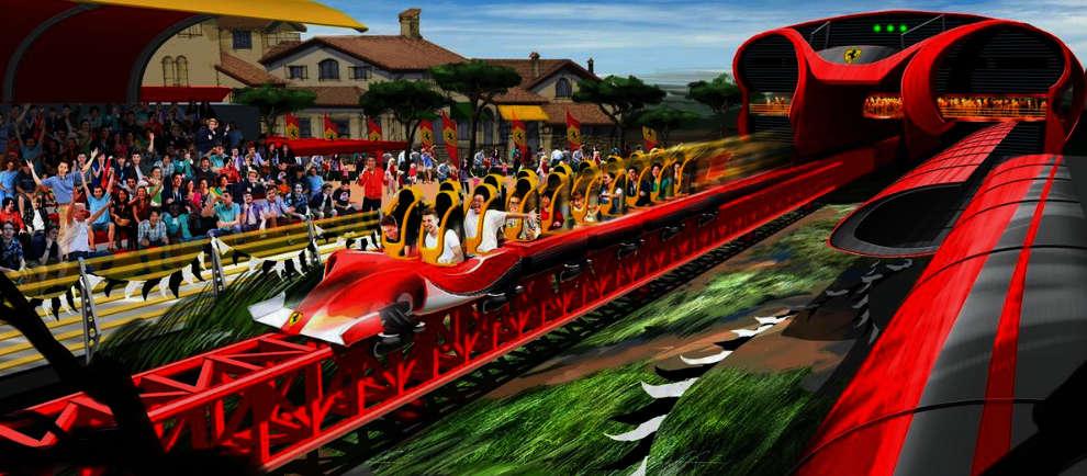 """So wird die Achterbahn im """"Ferrari Land"""" aussehen (c) Port Aventura"""
