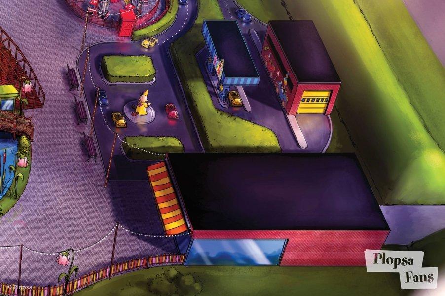 """""""Fire Brigade"""" oben im Bild und unten ein Teil der Fahrschule (c) http://plopsafans.be/"""