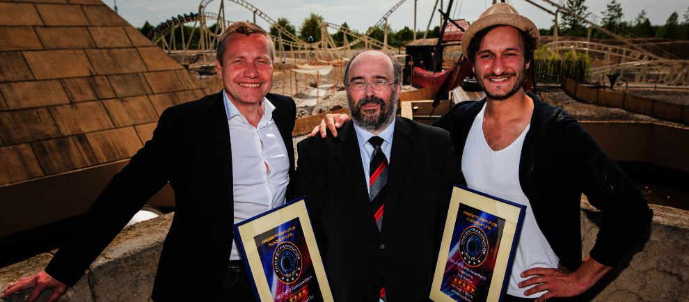 Erwin Linnenbach (Geschäftsführer von BELANTIS), Manfred Piringer (Chefredakteur des Fachportals Freizeitparkfun.de), Erik Köhler (Schauspieler und Entertainer bei BELANTIS). (c) Belantis