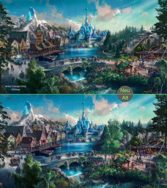 """Vergleich der beiden veröffentlichten Artworks für den """"Frozen"""" Themenbereich (c) Hong Kong Disneyland / ThemePark-Central.de"""