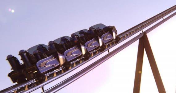 """So werden die Züge von """"Falcon's Flight"""" aussehen © Six Flags Qiddiya"""