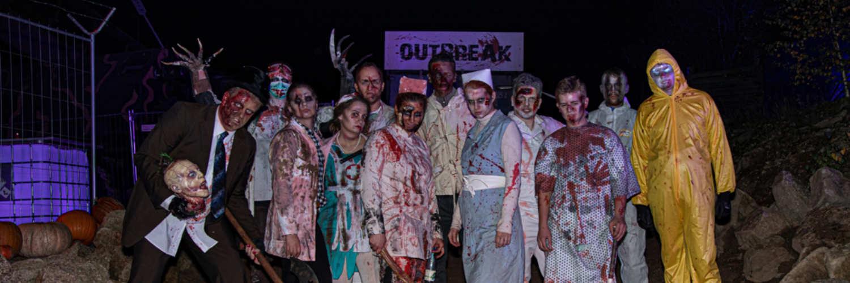 """Diese Gestalten erwarten uns in """"Outbreak"""" während dem allseits beliebten Freizeitpark Plohn Halloween © Freizeitpark Plohn"""