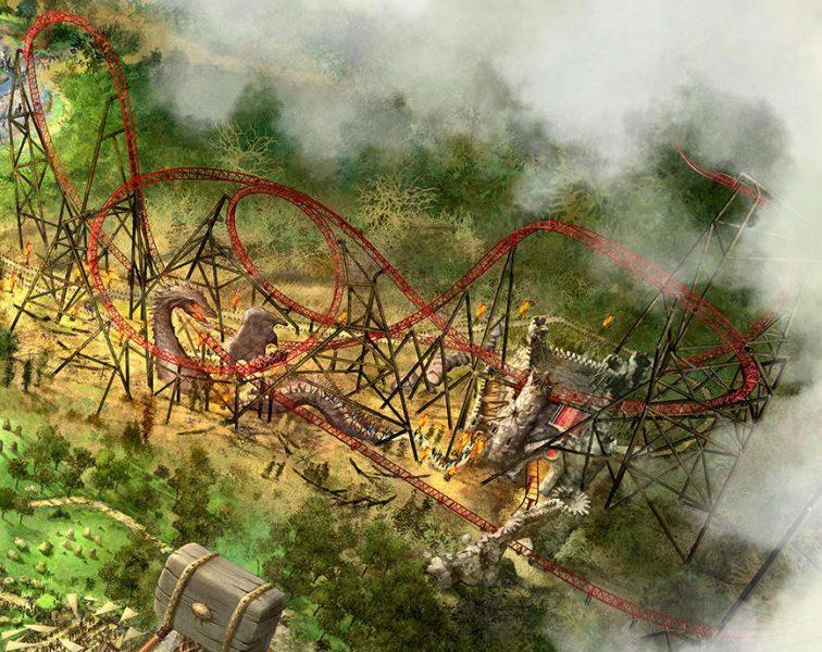 """Ein Blick auf die Thematisierung von dem Triple Launch Coaster """"Fury"""". © Bobbejaanland"""