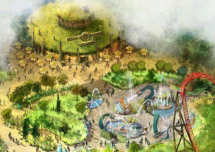 Hier sieht man sehr gut, den neuen Wasserspielplatz im Park. Dieser wird den bestehenden Spielplatz ersetzen. © Bobbejaanland