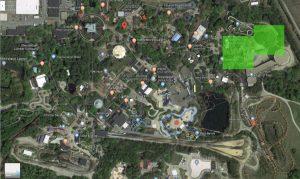Eine durchaus große Fläche wird nun in Kings Dominion frei © ThemePark-Central.de/Google Maps