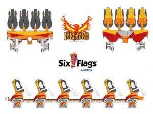 Six Flags America Firebird Zug Konzept