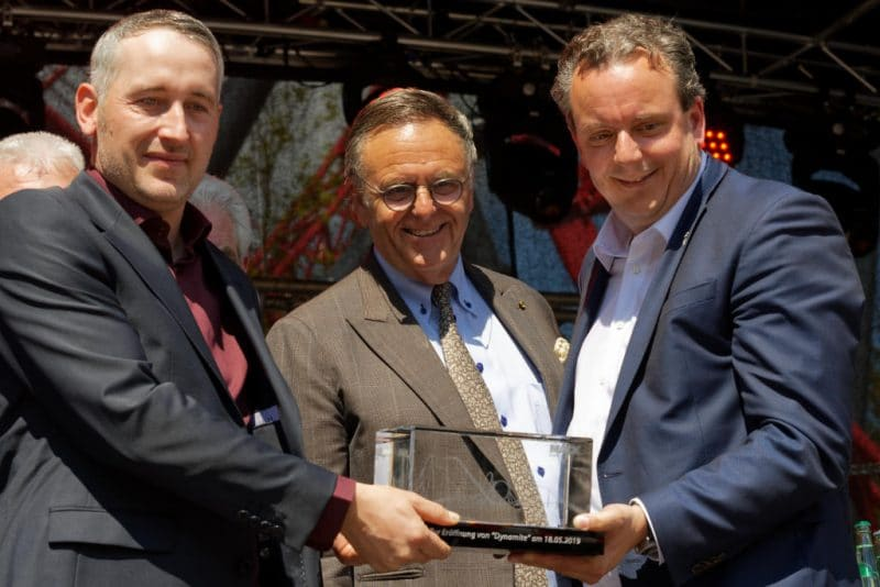 Roland und Michael Mack waren auch bei der Eröffnung im Freizeitpark Plohn © Mike Rimpl / ThemePark-Central.de