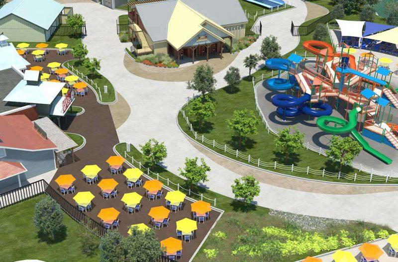 Viele große Liegewiesen entstehen, sowie ein Familienbereich mit 8 neuen Rutschen für die Kinder