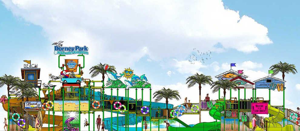 Ein karibisches Thema wird der Spielbereich haben. Zahlreiche bunte Schirme verzieren den neuen Bereich.