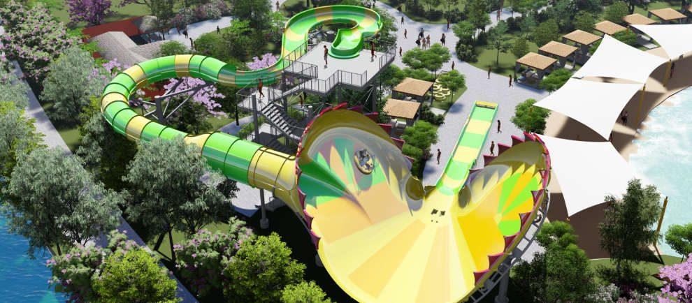 Die Besucher rutschen mit Ringen einer grün/gelb gehaltenen Rutsche hinab. Das letzte Rutschelement sieht optisch wie eine Venus Fliegenfalle aus, mit Zähnen am Rand.