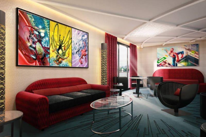 Disneys Hotel New York Spider Man Suite living room