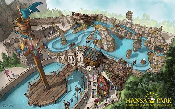 Ein liebevoll gestalteter Themenbereich mit einer Wasserbahn und kleinem Free Fall Tower wird Awildas Welt.