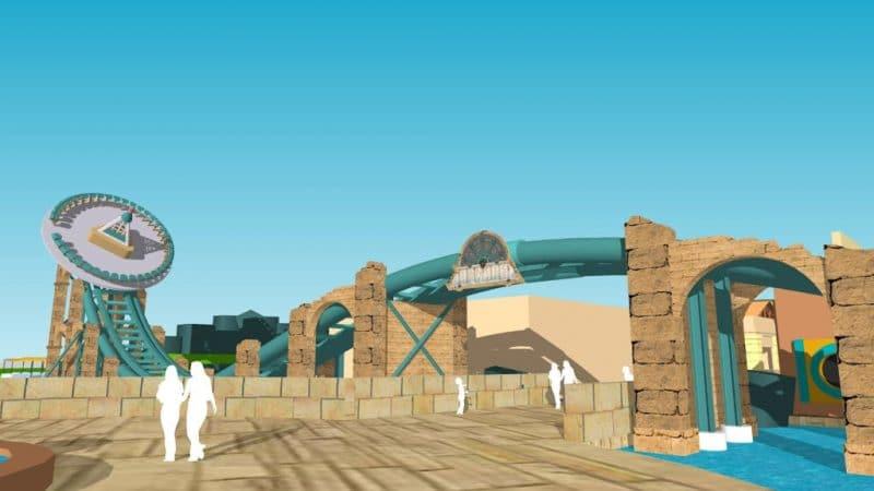 """Der """"Disk'O Coaster"""" fährt über den Eingang zum Themenbereich """"Aqualantis"""" © pawel98123"""