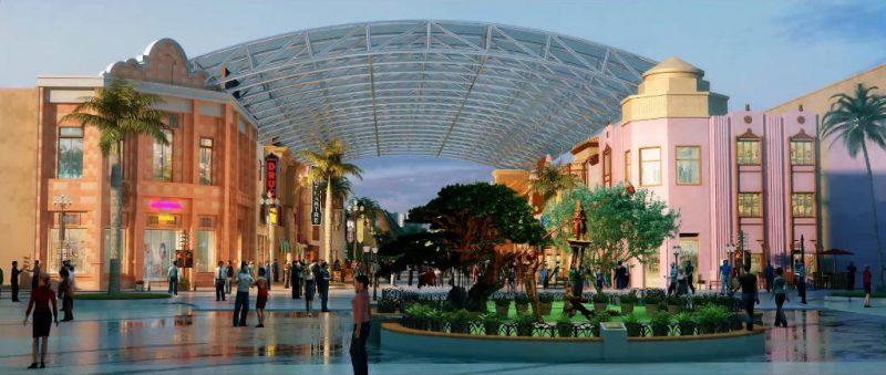 """Hier beginnt das Abenteuer. Der """"CityWalk"""" des Parks. © Universal Studios Beijing"""