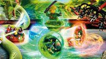 In der neuen, völlig abgedrehten Attraktion Lloyd's Spinjitzu Spinner im LEGOLAND Deutschland Resort können sich die Besucher bei 360° Überschlägen wild durcheinander wirbeln lassen. © Legoland Deutschland Resort