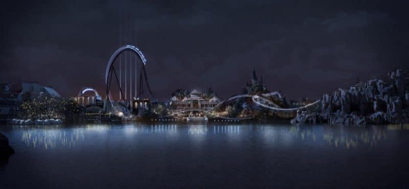 """Auch in den Abendstunden wird der """"Jurassic World Velocicoaster"""" eine Schönheit sein © Universal Studios Orlando"""
