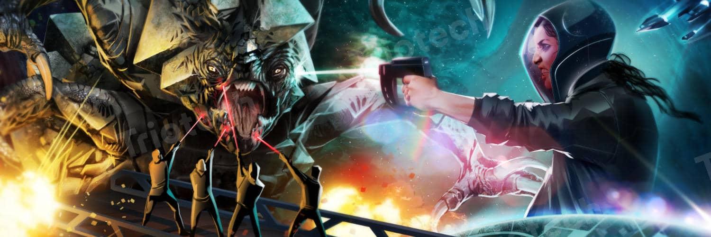 """OCT Fabland Xiangyang eröffnet erste """"Space Pirates"""" Attraktion © Triotech"""